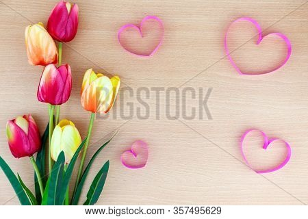 Spring Flower Of Multi Color Tulips On Wood Background ,flat Lay Image For Holiday Greeting Card For