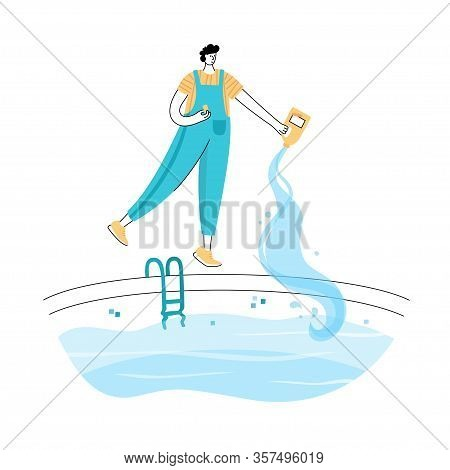 Vector Isolated Illustration Of Man Shocks And Algaecides The Swimming Pool Water With Chemicals. Wo