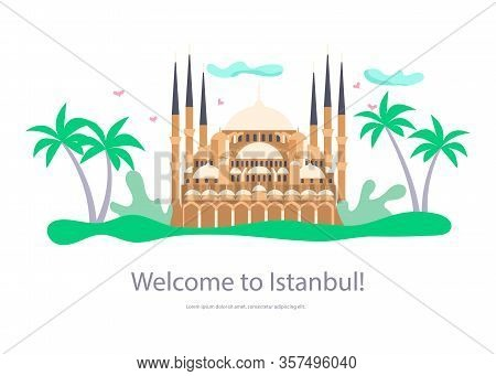 Landing Web Page Template Of Istanbul Travel. Voyage Around Europe, Saint Sophia Cathedral Byzantine