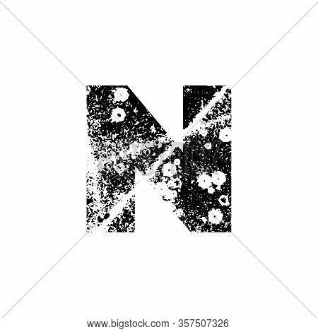 Painted Letter N. Grunge Alphabet Font. Abstract Handmade Sans Serif Typeface. Distress Textured Abc
