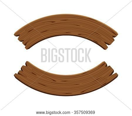 Curved Wooden Planks Isolated On White Background, Wood Plank Curve For Signs And Copy Space, Wooden