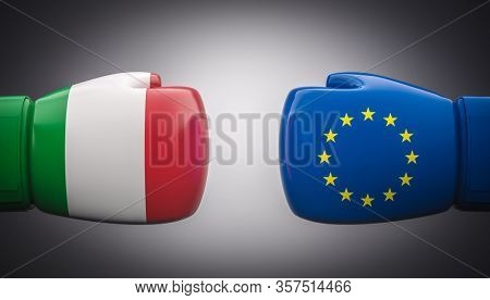 boxing gloves with flags of italy and europe. Conflict concept, exit from euro and europe. Italy exit. 3d render.