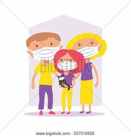 Family With Face Masks. Covid-19 Conceptual Vector Illustration. Protection From Coronavirus Or Resp