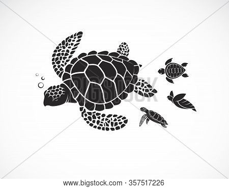 Vector Of Mother Turtle And Baby Turtle On A White Background. Reptile. Animals. Easy Editable Layer