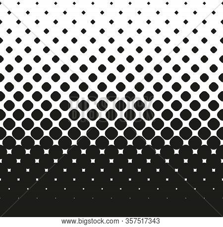 Horizontal Seamless Halftone Of Big Rounded Squares Decreases Up, On White Background. Contrasty Hal