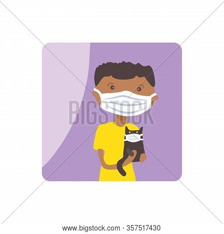 African American Boy With Face Mask. Covid-19 Quarantine Conceptual Vector Illustration. Protection
