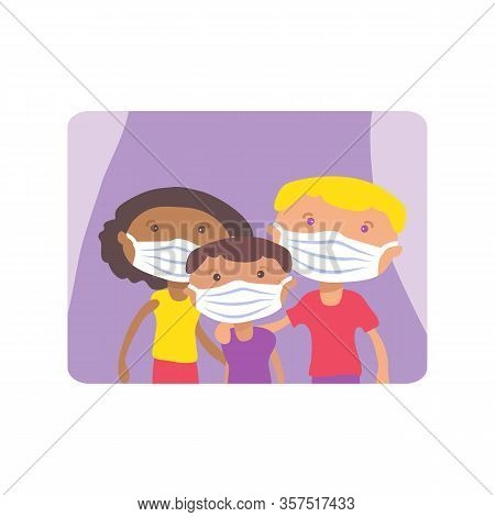 Multiethnic Family With Face Masks. Covid-19 Conceptual Vector Illustration. Protection From Coronav