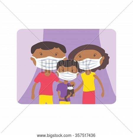 African American Family With Face Masks. Covid-19 Conceptual Vector Illustration. Protection From Co