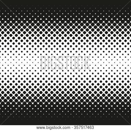 Horizontal Seamless Halftone Of Big Rounded Squares Decreases To Center, On White Background. Contra