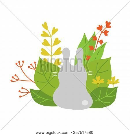 Cute Cartoon Bunny Sitting Back Near Plants And Flowers . Hand- Drawn Vector Illustration For Postca