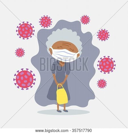 African American Elderly Woman With Face Masks. Covid-19 Conceptual Vector Illustration. Protection