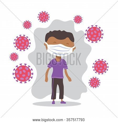 African American Man With Face Masks. Covid-19 Conceptual Vector Illustration. Protection From Coron