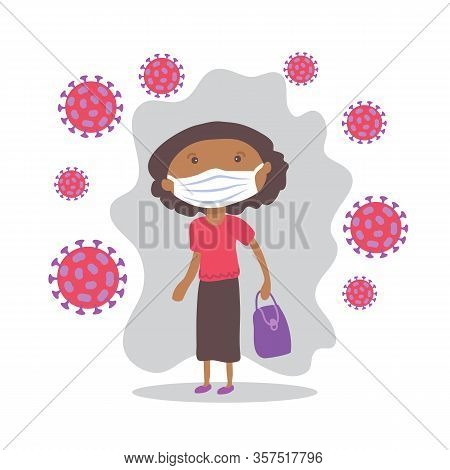 African American Woman With Face Masks. Covid-19 Conceptual Vector Illustration. Protection From Cor
