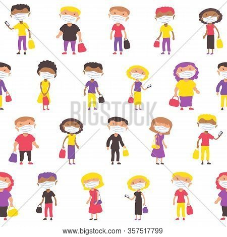 Multiethnic People With Face Masks Line At The Market. Covid-19 Conceptual Vector Illustration. Prot