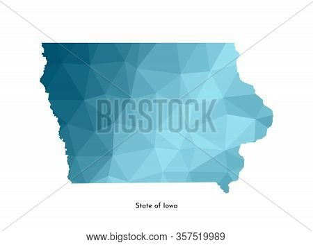 Vector Isolated Illustration Icon With Simplified Blue Map Silhouette Of State Of Iowa (usa). Polygo