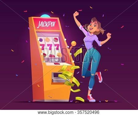 Slot Machine Jackpot Casino Win. Lucky Woman Celebrate Winning Prize Jumping At Money Falling With A