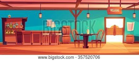 Western Saloon Interior With Table, Bar Counter, Alcohol Bottles On Shelves. Vector Cartoon Illustra