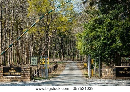 Jim Corbett National Park, Uttarakhand / India - 1 March 2020 : Dhangari Or Main Entry Gate And Chec