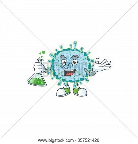 Coronavirus Illness Brainy Professor Cartoon Design Grasp A Glass Tube