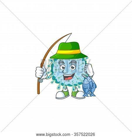 Cartoon Character Of Funny Fishing Coronavirus Illness