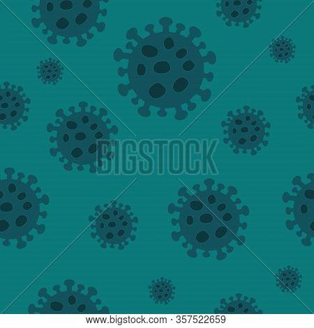 Seamless Pattern With Illustration Of Novel Coronavirus 2019-ncov Covid-19 On White Background. Abst
