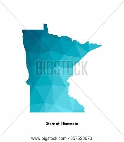 Vector Isolated Illustration Icon With Simplified Blue Map Silhouette Of State Of Minnesota (usa). P