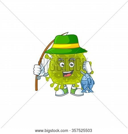 Cartoon Character Of Funny Fishing Coronavirus Spread