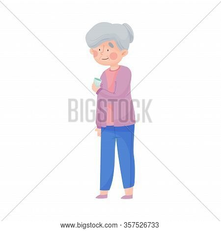 Senior Woman Holding Glass Of Cool Water Vector Illustration