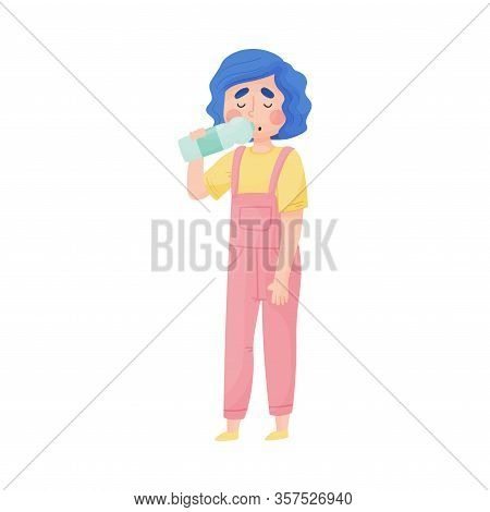 Young Girl Holding Bottle Of Cool Water And Drinking Vector Illustration