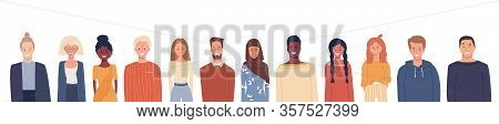 Vector Illustration In Flat Style. Global Society. Happy Smiling People Of Different Nationalities,
