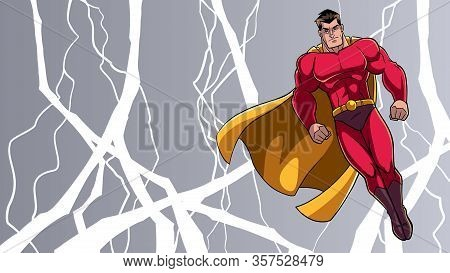 Full Length Illustration Of Powerful Superhero Looking Down While Soaring In The Sky During A Thunde
