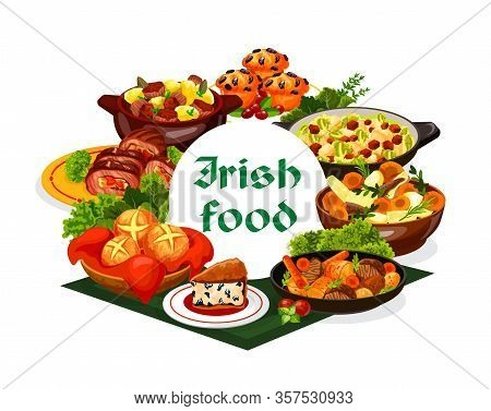 Irish Cuisine Food With Vegetable Meat Stews And Bread Vector Design. Mashed Potato And Cabbage Colc