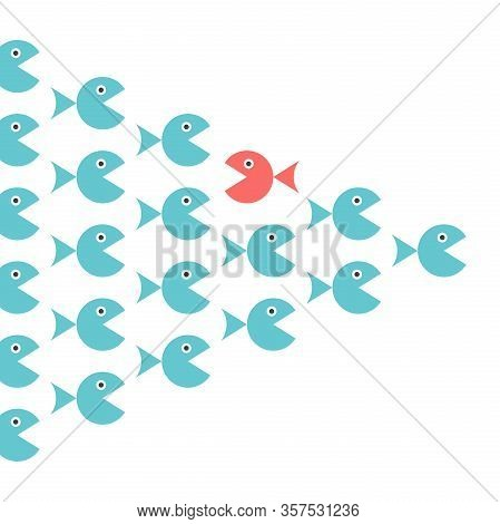 Different Unique Opposite Red Fish In Shoal Of Many Blue Ones. Personality, Belief, Courage, Society