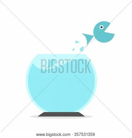 Fish Jumping From Fishbowl. Freedom, Courage, Change, Claustrophobia, Action And Challenge Concept.