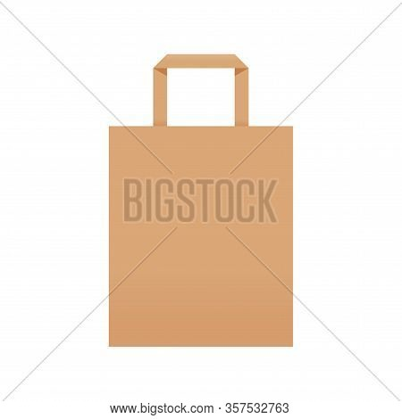 Brown Kraft Paper Bag Eco Blank Isolated On White, Template Of Eco Bag Kraft Paper Brown Package, Br