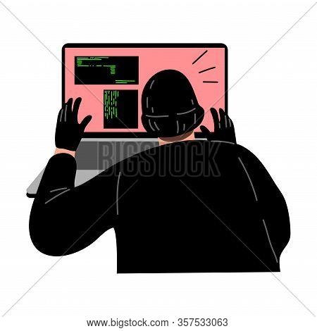 Cyber Hacker Thief Stealing Secret User Information From The Laptop. Vector Illustration In Flat Car