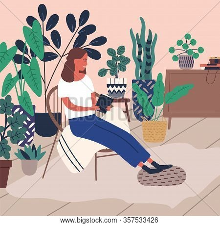 Smiling Young Woman Relaxing Reading Book Surrounded By Houseplant Vector Flat Illustration. Joyful