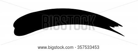Black Ink Brush Marks Isolated On White, Brushstroke Black For Watercolor Paint Idea, Black Stripe B