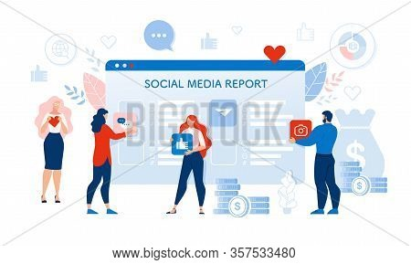 Social Media Audit Report. People User Response. Man And Woman Holding Like Heart And Thumbs Up Sign
