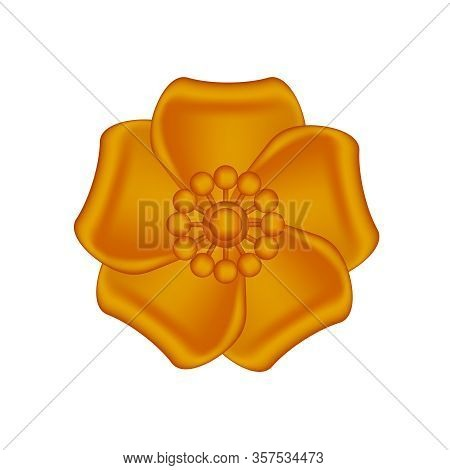 Single Flowers Copper Ornate Isolated On White Background, Luxury Flower Petal Copper Simple, Copper