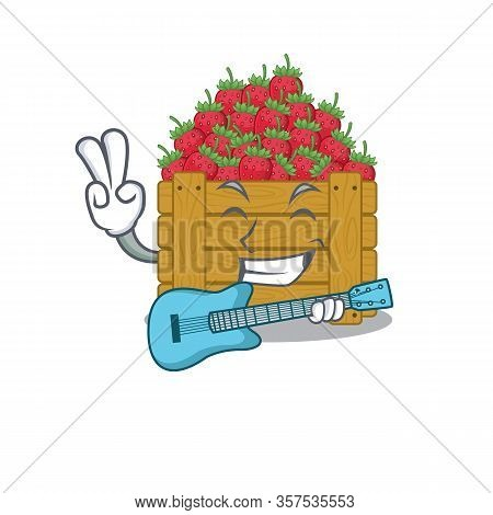 Supper Cool Strawberry Fruit Box Cartoon Playing A Guitar