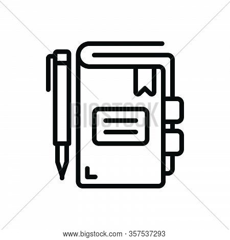 Black Line Icon For Index Table Indication Evidence Catalogue File Record List Maintain