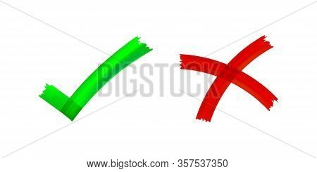 Checkmark And X Or Confirm And Deny Icon Button Flat For Apps And Websites Symbol, Icon Checkmark Ch