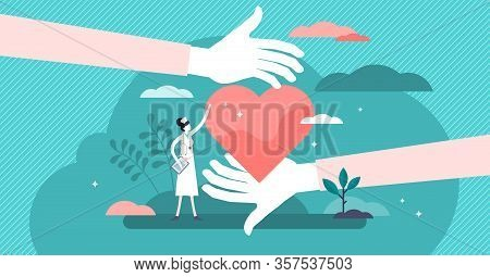 Health Care Vector Illustration. Cardiology Doctors Flat Tiny Persons Concept. Symbolic Heart Treatm