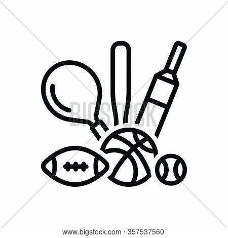 Black Line Icon For Sport Game Play Competitive Athletics Pastime Entertainment Delight