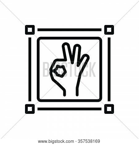 Black Line Icon For Perfect Good Better Masterly Nailing  Excellent Ok Sign Gesture Sure Okay