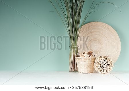 Calm Eco Home Decor With Natural Beige Dried Plant, Wicker Basket, Bamboo Plate, Bunch Of Reed In Gl