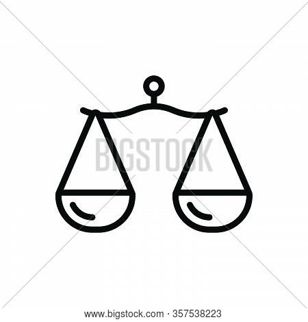Black Line Icon For Proportion Comparison Libra Rate Scale Measure Ratio Equality Equilibrium Balanc