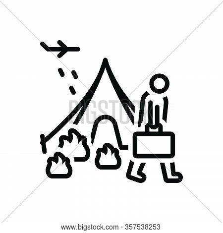 Black Line Icon For Refugee Fugitive Migrant Runaway Displaced Luggage Displacement