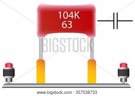 A Film Capacitor With A Capacity Of 100 Nanofarads, Which Is Used In Radio Engineering, Is Red.